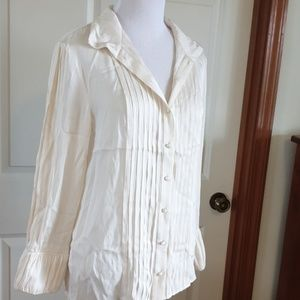 ALICE + OLIVIA cream silk blouse with pleating